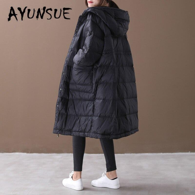 AYUNSUE White Goose   Down   Jacket Women Oversized Winter   Coat   Women   Down     Coat   Hooded Puffer Jacket Warm Parka Veste Femme YY1443
