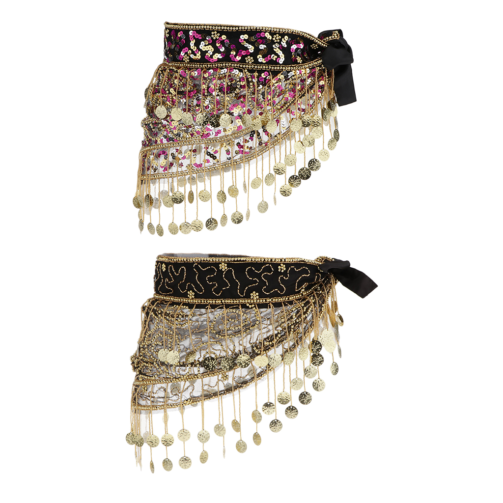 Fashion Belly Dancing Coins Hip Scarf Sequins Waist Chain Charms Skirt