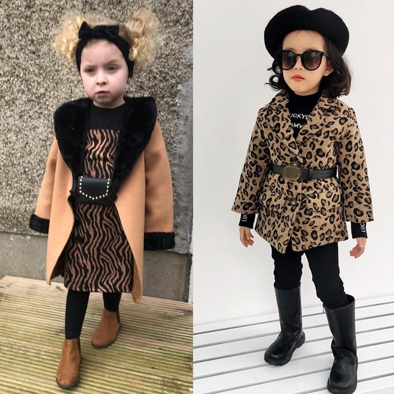 Kids Coat 2021 Autumn Baby Girls Long Sleeve Leopard Fur Windproof Infant Boys Clothes Girl Warm Pocket Fashion Outwear Jacket 1