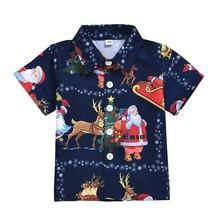 Baby Boy Clothes Short Sleeve Christmas Clothes Cartoon Print Shirts Kids Tops C