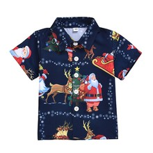 Baby Boy Clothes Short Sleeve Shirt for Christmas Clothes Cartoon Print