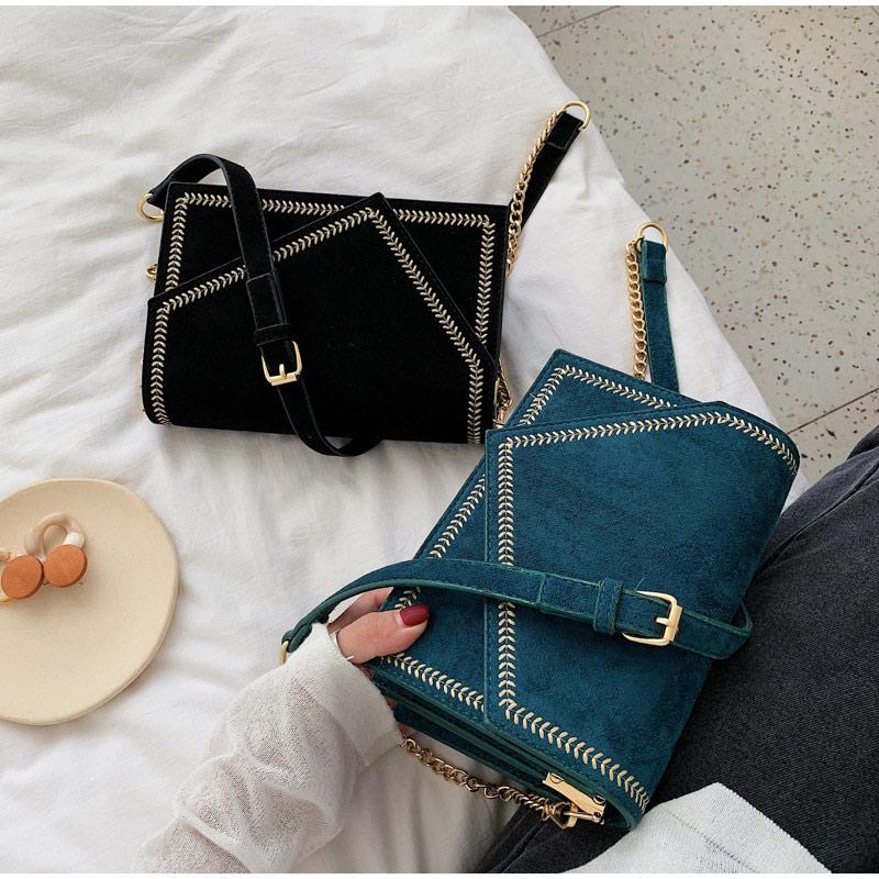 Vintage Fashion Female Square Bag Matte PU   Leather   Women's Designer Handbag Chain Shoulder Messenger Bags   Suede   Crossbody Pack