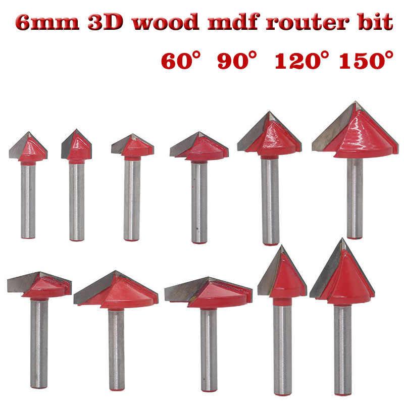 Najwyższej jakości 1 PC 6mm Shank 60 90 120 150 stopni V Groove drewna Router Bit z węglików spiekanych młyn narzędzia do obróbki drewna tanie ceny