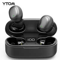 YTOM T3 TWS Mini True Wireless Bluetooth 5.0 Earphone with LED display Bass handfree Earbuds For sport smartphone pc running