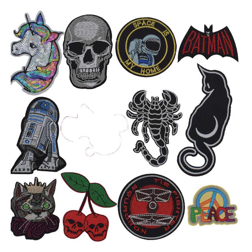 Nieuwe Scorpion Ruimte Schedel Batman Paard Kat Vrede Patches Voor Kleding Patchwork Geborduurde Applicaties Kledingstuk Stickers Badge