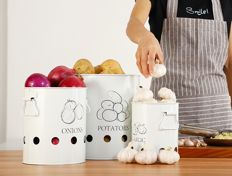 Breathable Kitchen Container Set and Food Storage Bins with 2 Handles for Storing Potatoes and Onions 10