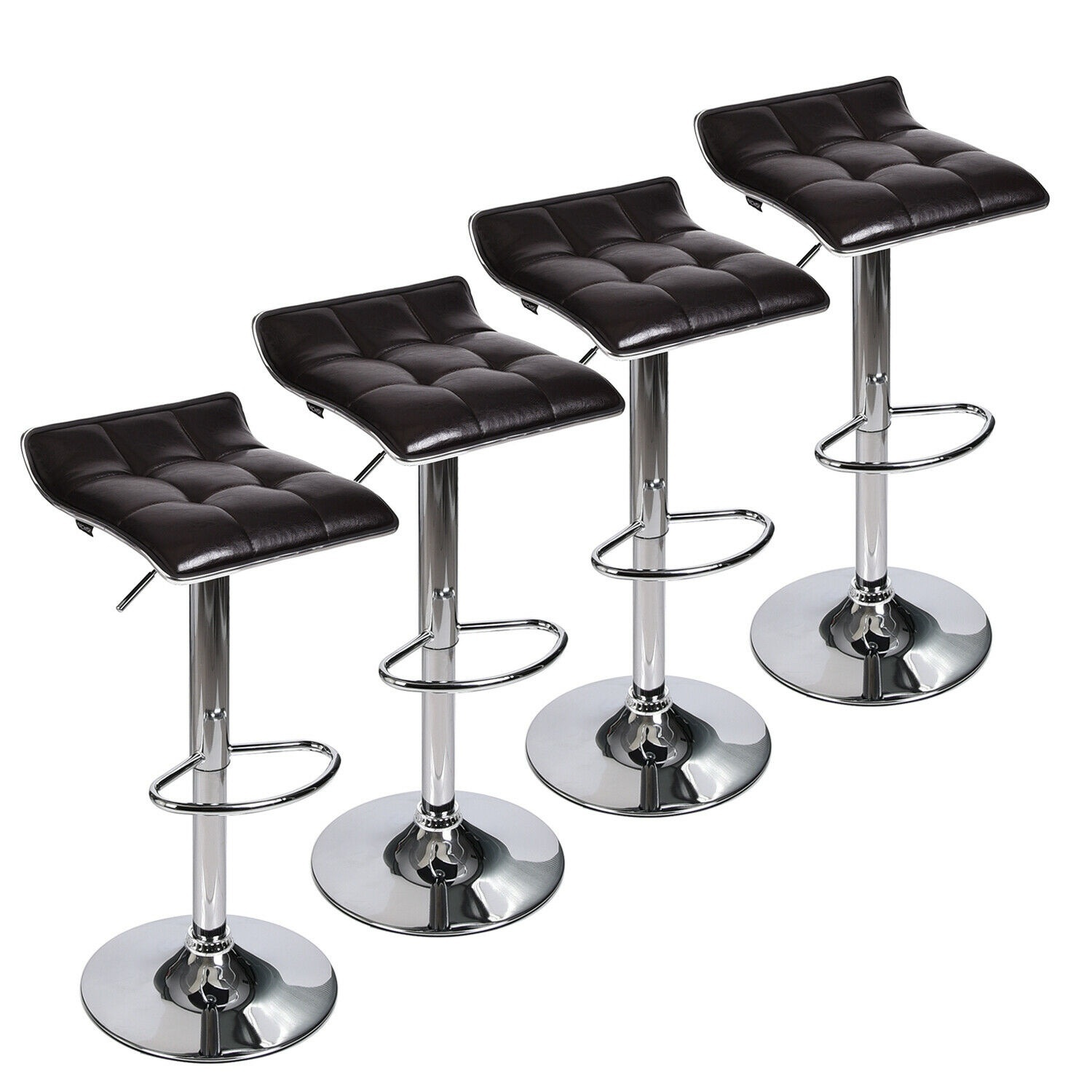 Set Of 4 Bar Chairs PU Leather Swivel Counter Height Pub Dining Chair Kitchen