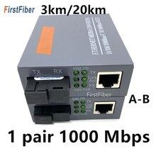 1 Pair 10/100/1000Mbps 3KM o 20KM Media Converter Fibra Optica Ricetrasmettitore FTTH Ottica gigabit Conversor De Fibra SM