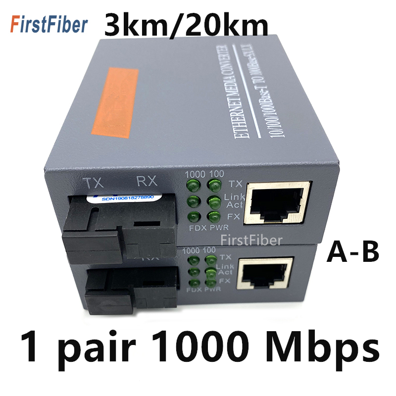 1 par 10/100/1000mbps 3km ou 20km conversor de mídia fibra optica transceptor ftth óptica gigabit conversor fibra sm