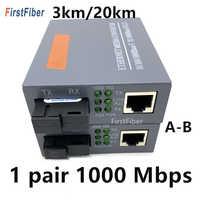 1 par 10/100/1000Mbps 3KM o 20KM convertidor de medios Fibra Optica transceptor FTTH Fibra óptica gigabit convertidor de Fibra SM