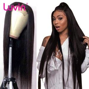 Luvin дешевые 26 28 30 дюймов прямые бесклеевые кружевные фронтальные человеческие волосы парики бразильские длинные закрытие парик швейцарски...