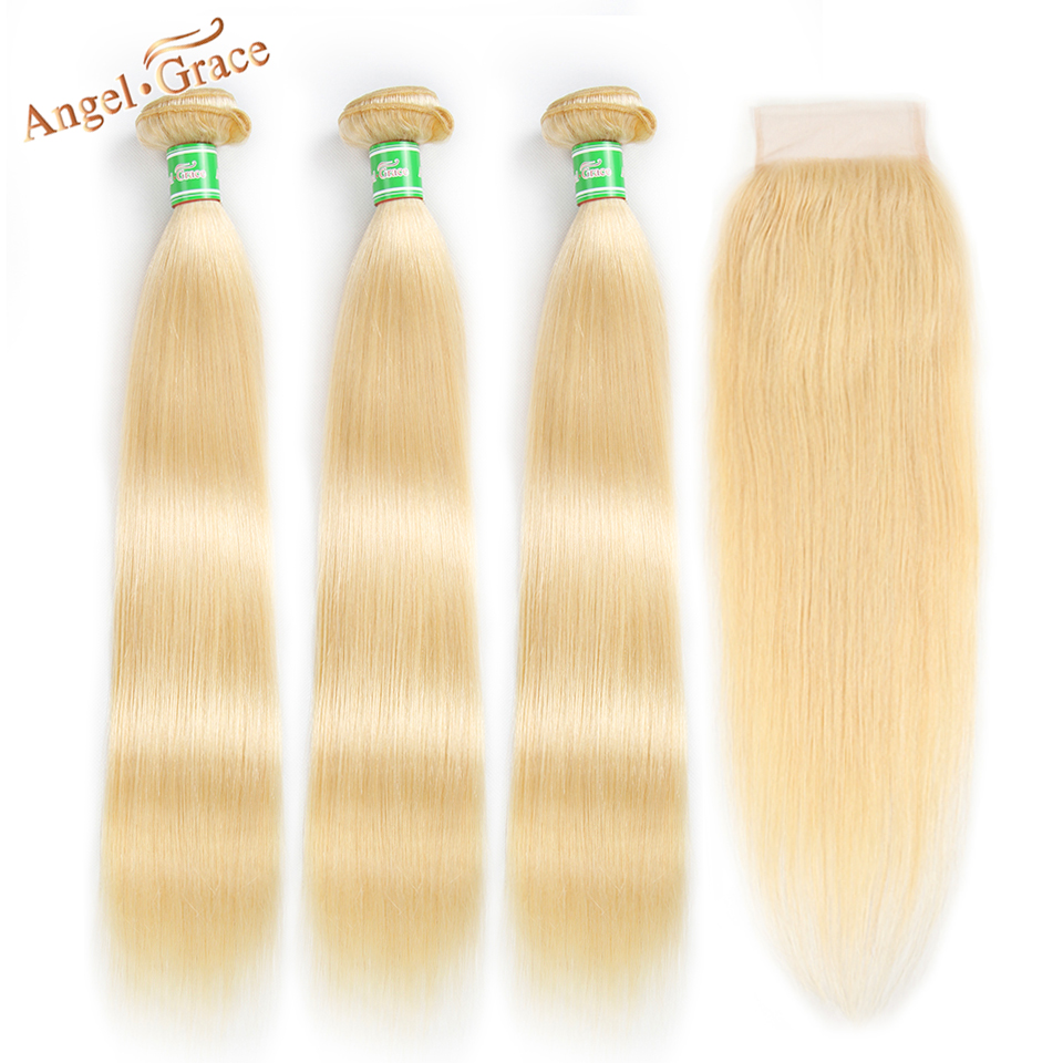 Blonde Hair Bundles With Closure Angel Grace Brazilian Straight Hair Bundles 100% Human Hair 613 Bundles Remy Hair Extension