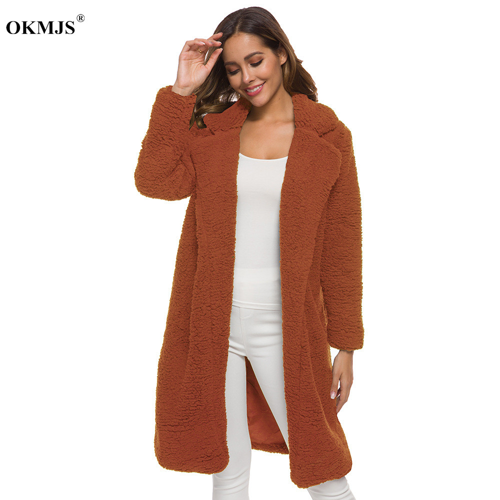 2019 Women Long Fur Teddy Coat Winter Warm Faux Fur Jacket Ladies Furry Overcoat Long Sleeve Cardigan Outwear Overcoat Plus Size