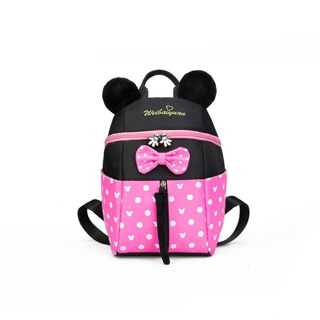 Disney  New Cartoon Backpack Minnie Mickey Print Schoolbag Kindergarten/Primary School Kids Bags Infantil Mochila for Baby Girls
