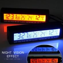 12V/24V Red/Orange Backlight Car Digital LCD Display Clock,indoor/outdoor Thermometer,Voltage Meter Battery Monitor Universal