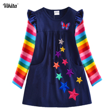 VIKITA Girls Long Sleeve Dresses Children Autumn Clothing for Kids Girls Cotton Dress Toddlers Striped Dresses Baby Girl Clothes fhadst new striped patchwork character girl dresses long sleeve cute mouse children clothing kids girls dress denim kids clothes
