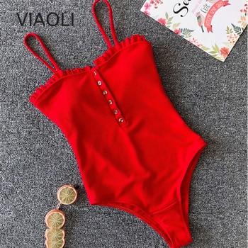 цена One-Piece bandage Swimsuit Swimwear Women Solid Swimwear Vintage Retro Monokini Swimsuit Bathing Suits онлайн в 2017 году