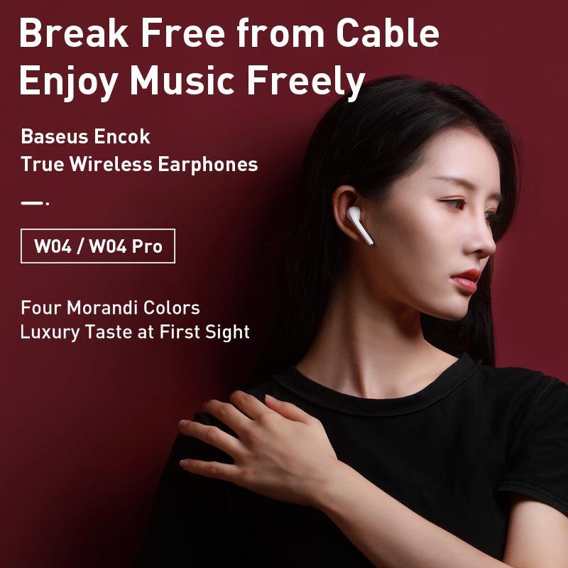 Baseus W04 Pro TWS Bluetooth Earphone 5.0 True Wireless Earbuds Stereo Earphones For Xiaomi Handsfree In Ear Phone Sport Headset 1