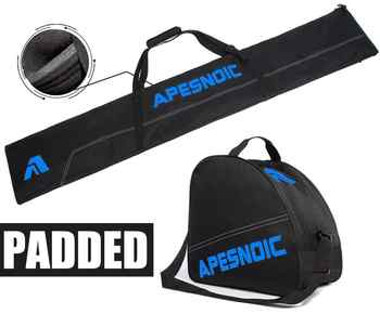 APESNOIC Padded Two-Piece Ski and Boot Bag Combo Water-Resistant Ski Boot Travel Bag Fit Skis Up to 200 cm & Boots Size 13 - DISCOUNT ITEM  35 OFF All Category