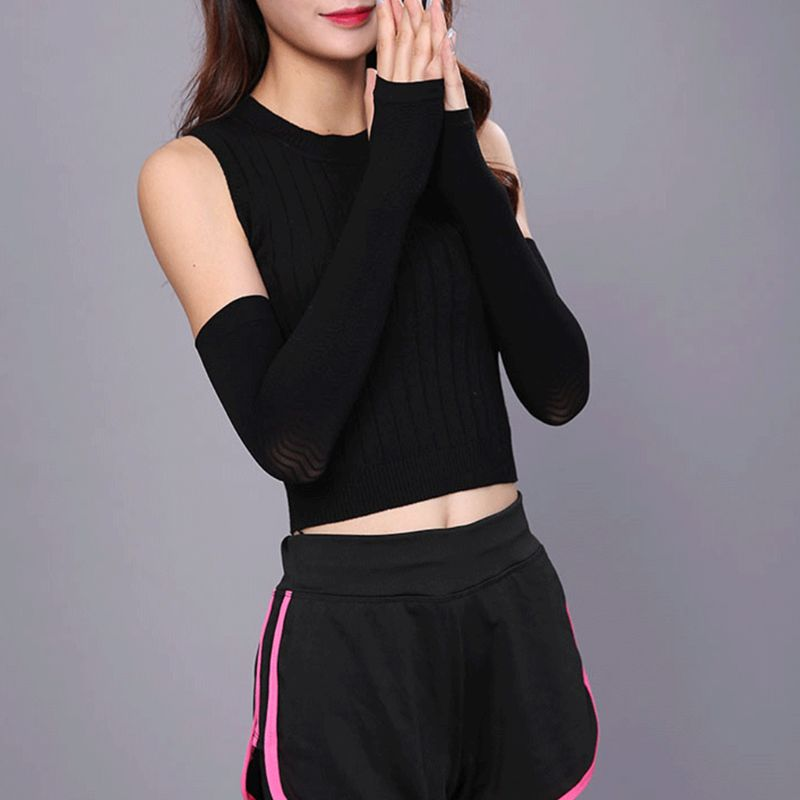 Japanese Style Women Fingerless Arm Sleeves Compression Surround Pressure Shaper Bump Weave Long Sports Long Gloves Thumb Hole