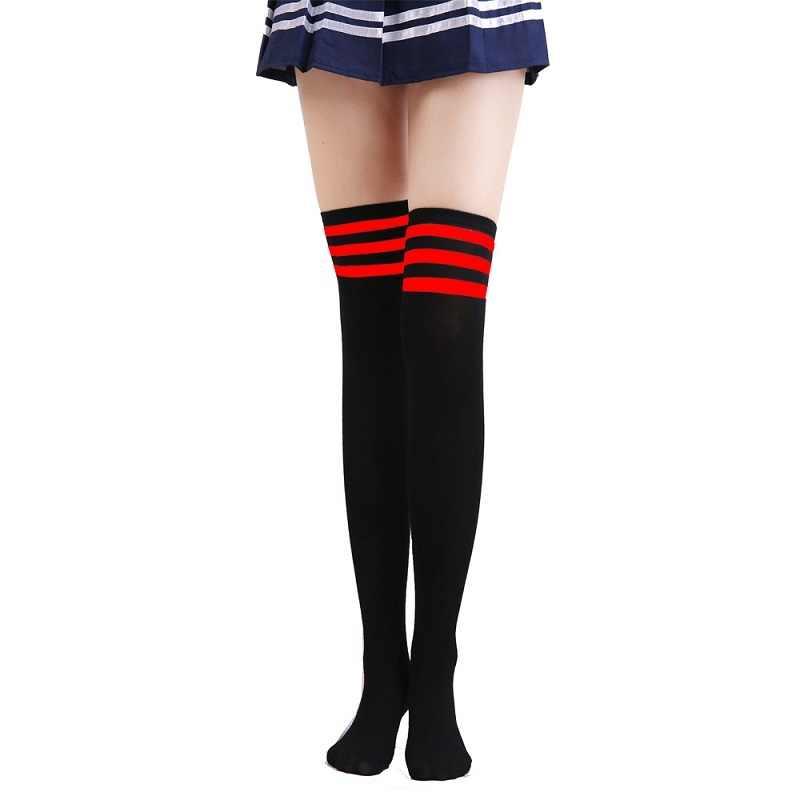 ผ้าฝ้ายหนาสีดำและสีขาวลายถุงเท้าเข่าถุงเท้าสูง 2019 วิทยาลัยลมอุ่นถุงน่องถุงน่องถุงน่องถุงน่องเซ็กซี่ท่อถุงเท้า