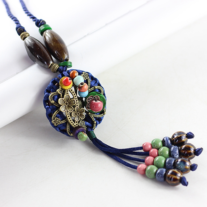 Ethnic Style Women Long Sweater Chain Beautiful Colorful Ceramic Beads Tassel Pendants Necklace Female Jewelry Accessories