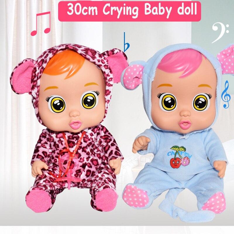 30cm elétrica silicone inteligente boneca de brinquedo para presentes da menina rasgo-se rindo boneca do bebê bonito animal presentes de natal para crianças