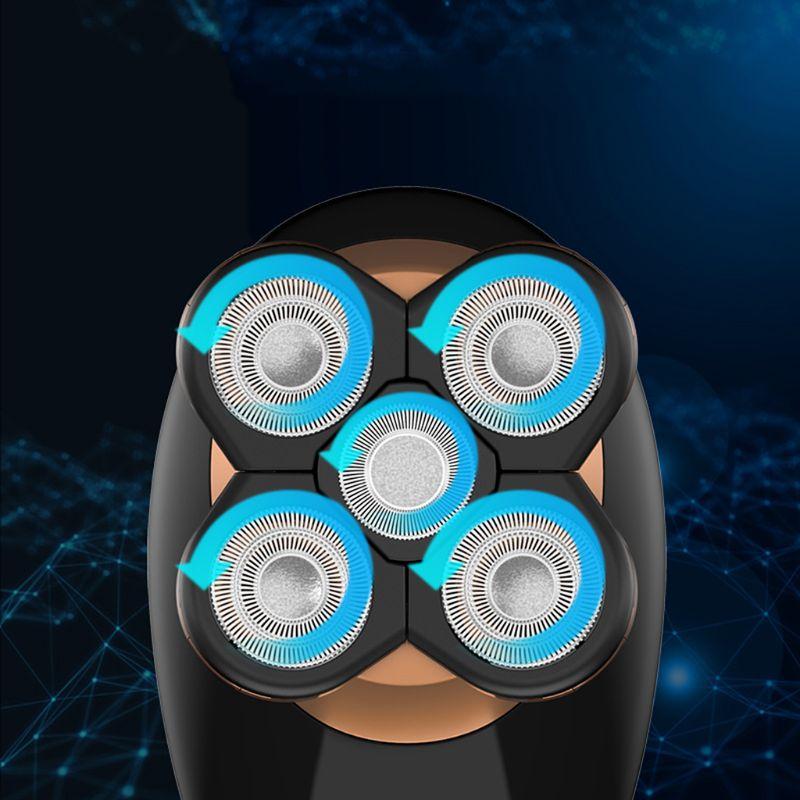 1 комплект Многофункциональный 4-в-1 интеллигентая(ый) цифровой Дисплей Для мужчин бритвенная головка машины 5-головка электробритва Перезаряжаемые электрическая бритва