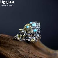 Uglyless Solid Real 925 Silver God of Wealth Elephant Rings for Men Thailand Wind Religious Open Rings Turquoise Jewelry R1007