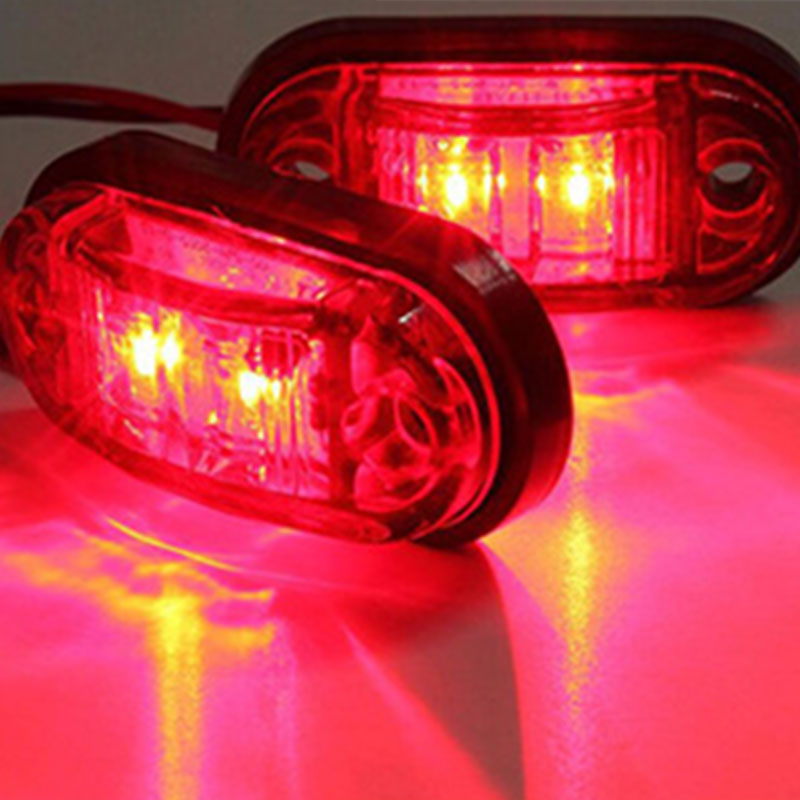 2 LEDs Side Marker Lamp Tail Brake Light ABS Waterproof For Car Truck Trailer Lorry Bus Van Pickup Signal Light Red