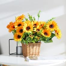 yumai 3 Heads 115cm Giant Sunflower Silk Artificial Flowers Branch Autumn Home Arrangements Decor Fall Garden Decoration