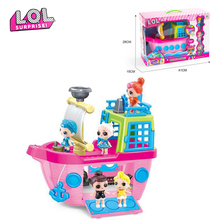 Original LOL surprise Cruise ship with three dolls Anime figure model toy Girl's lol dolls action figures gift DIY toys