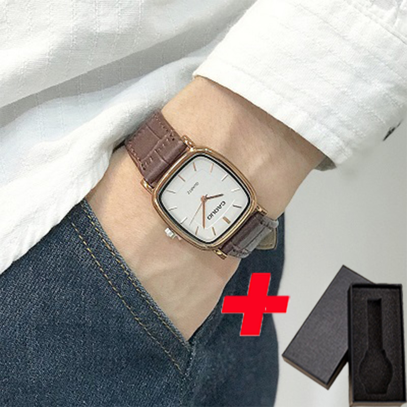 Image 4 - Men Square Quartz Wristwatches Business Retro Male Man Couple Watches Leather Band Bracelet Anqitue Bangle Watches Reloj-in Quartz Watches from Watches