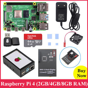 Touchscreen Cooling-Fan Abs-Case Heat-Sink Power-Supply Sd-Card RPI 4-Board Pi4 2GB