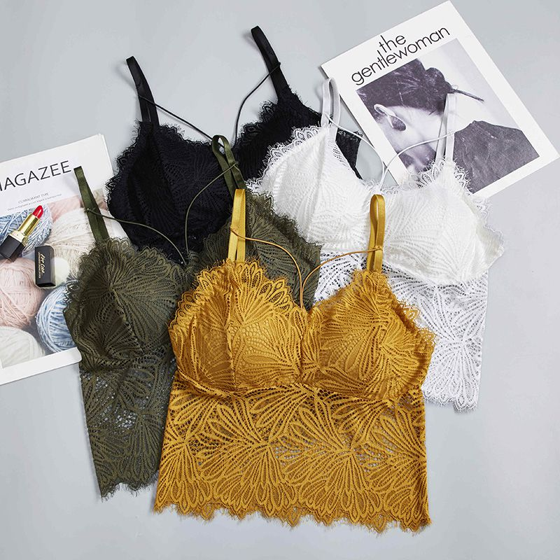 Lace Crop Tank Top Camisole Women Lingerie Sexy Eyelashes Lace Bralette Beauty Back Hollow Out Padded Camisole