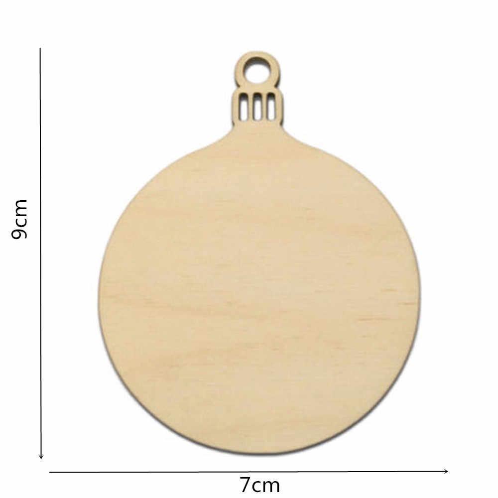 10PCS Holz Tags Runde Glocke Hängen Weihnachten Baum Kugeln Decor Kunst Handwerk Ornamente DIY Scrapbooking Dekorationen Geschenk Tag