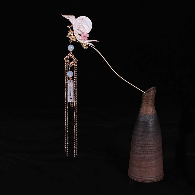 Китайская длинная Лунная заколка для волос Hanfu tiara женские аксессуары для волос Серебряная летающая птица жемчужный головной убор заколки для волос женские украшения для волос
