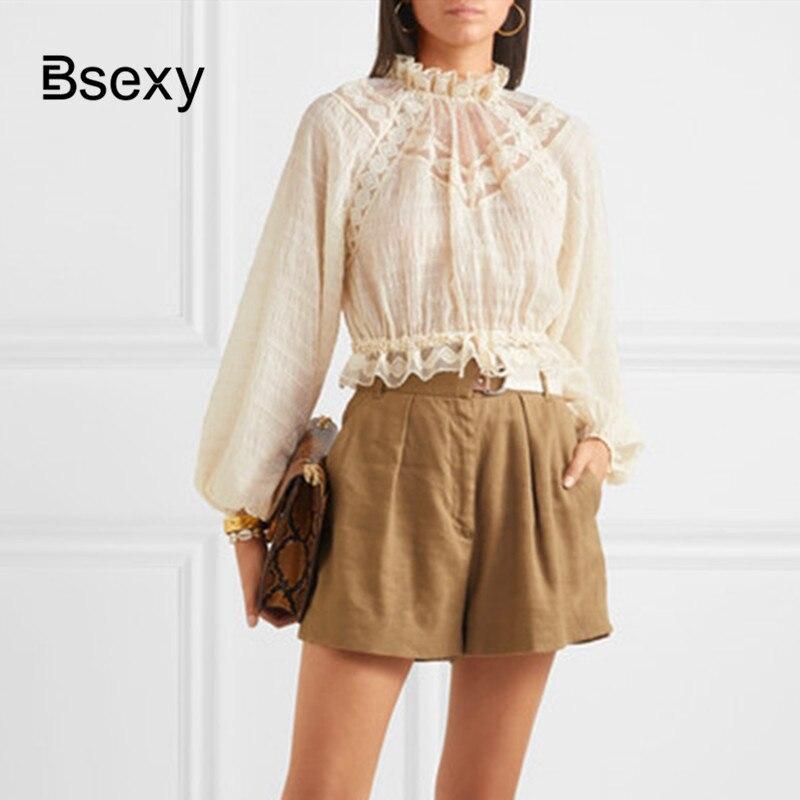 Haut court femmes automne Vintage dentelle Patchwork mousseline de soie imprimé FLoral chemise Boho Chic manches longues chemisier femme