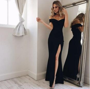 Women's Stretch Maxi Long Evening Dresses Black Off Shoulder High Side Split Slim Mermaid Sexy Formal Prom Gown YSAN306 - discount item  50% OFF Special Occasion Dresses