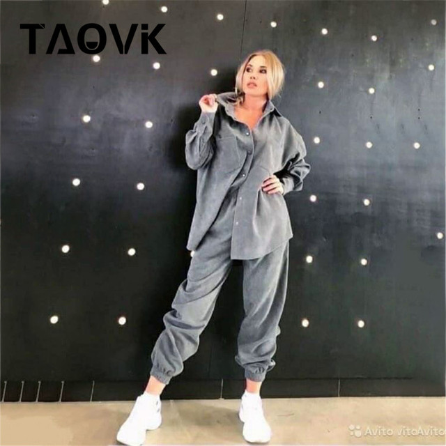 TAOVK Women's tracksuit corduroy  Pinstripe Single-breasted pocket Tops and pants women suits 2