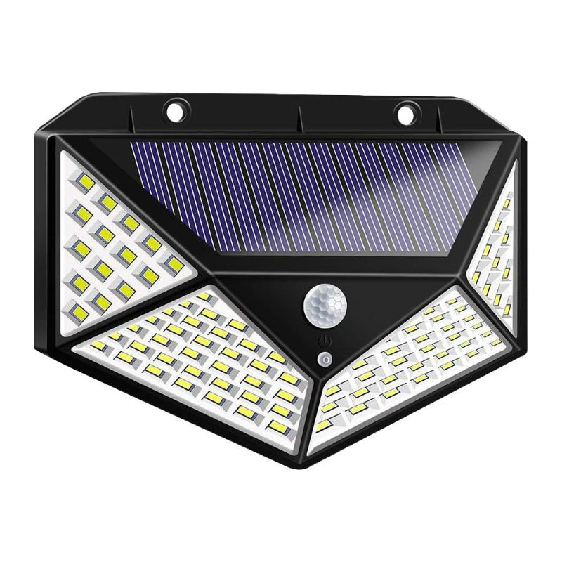 A2 Light Solar Power Night Light 4-side PIR Motion Sensor Lantern 100LED Lamp 2200mA Outdoor Wall Garden Yard Driveway Fence
