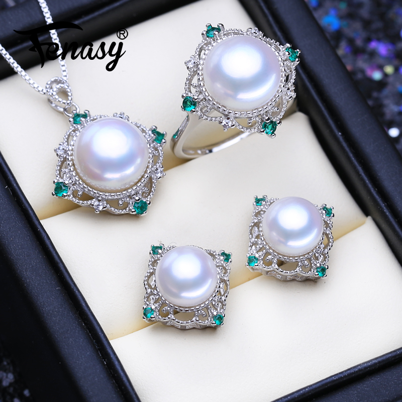 FENASY Natural Freshwater Pearl Jewelry Sets 925 Sterling Silver Bohemian Pendant Necklace For Women Wedding Stud Earrings