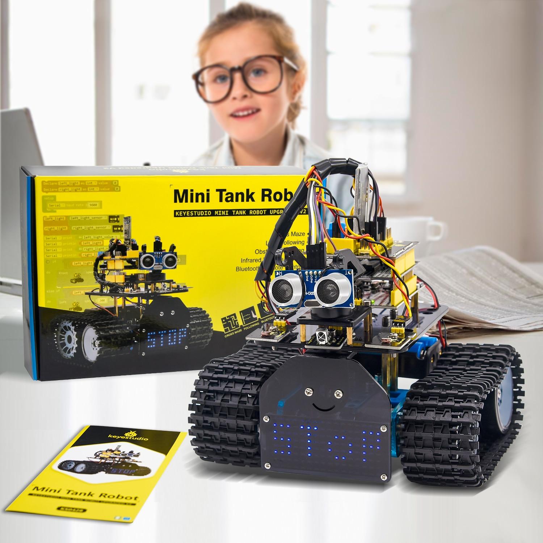 Keyestudio diy mini tanque robô v2.0 inteligente diy carro robô kit para arduino robô haste + 15 projetos/suporte ios & android app controle