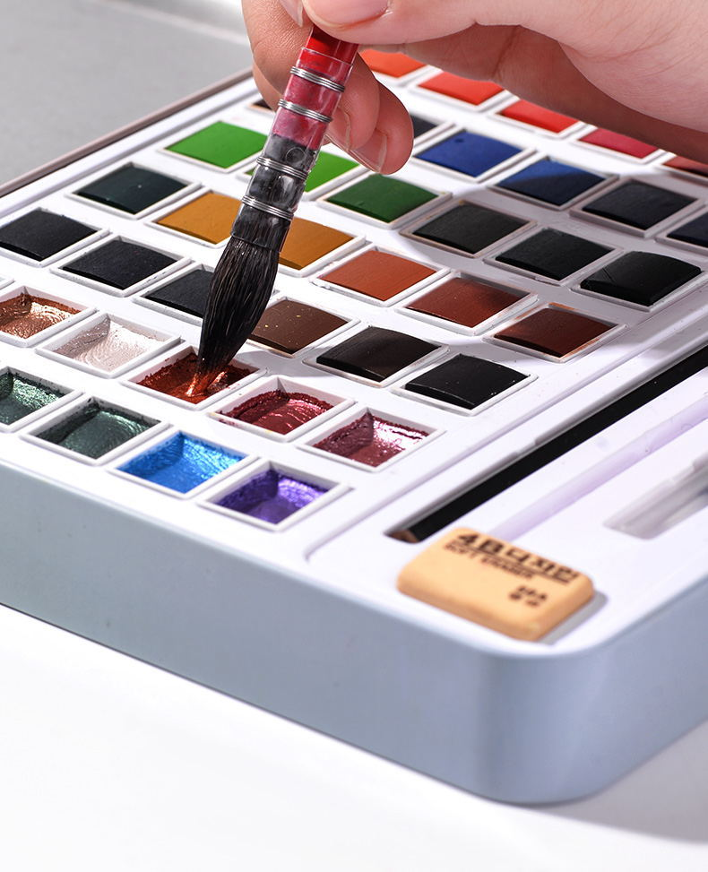 Pearlescent Metallic 36/48 Color Set / Solid Watercolor Paint Iron Box Set / Hand-painted Portable/ Art Supplies