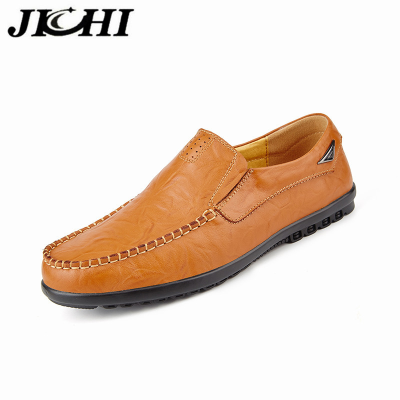 JICHI 2020 Leather Men Shoes Genuine Leather Casual Men's Shoes Breathable Non-slip Casual Leather Men's Shoes Zapatos De Hombre