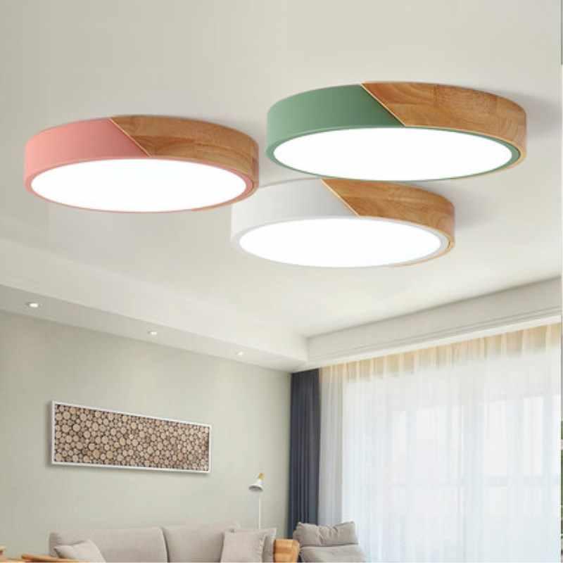 Luzes de teto moderna lâmpada do teto madeira lampara techo decorações natal para casa ultra fino luminária plafonnier led