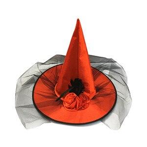 Image 4 - 1PCHalloween מכשפה כובע כובעי קישוט מסיבת תחפושות למבוגרים נשים שחור מכשפה כובע עבור ליל כל הקדושים תלבושות אבזר כובעים