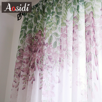AOSIDI Wisteria Flower Design Home Decor Modern Tulle Curtains For Living Room Bedroom Window Voile Curtains Light Transmission