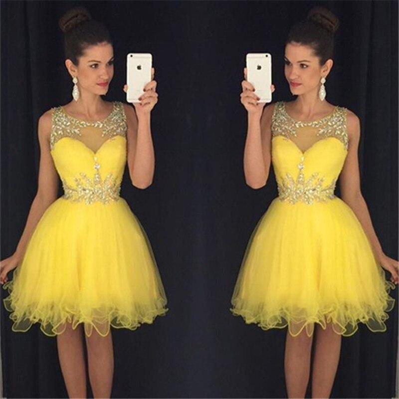 New Sexy Short 2019 Abiti Da Cerimonia O-neck Sleeveless Side Front Knee Length Beads Prom Gown 2018 Bridesmaid Dresses