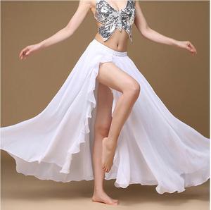 Image 2 - Falda larga de satén para mujer, falda Sexy Oriental para danza del vientre, profesional, 2019